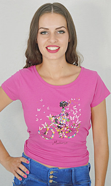 Camiseta manga corta bicicleta con flores
