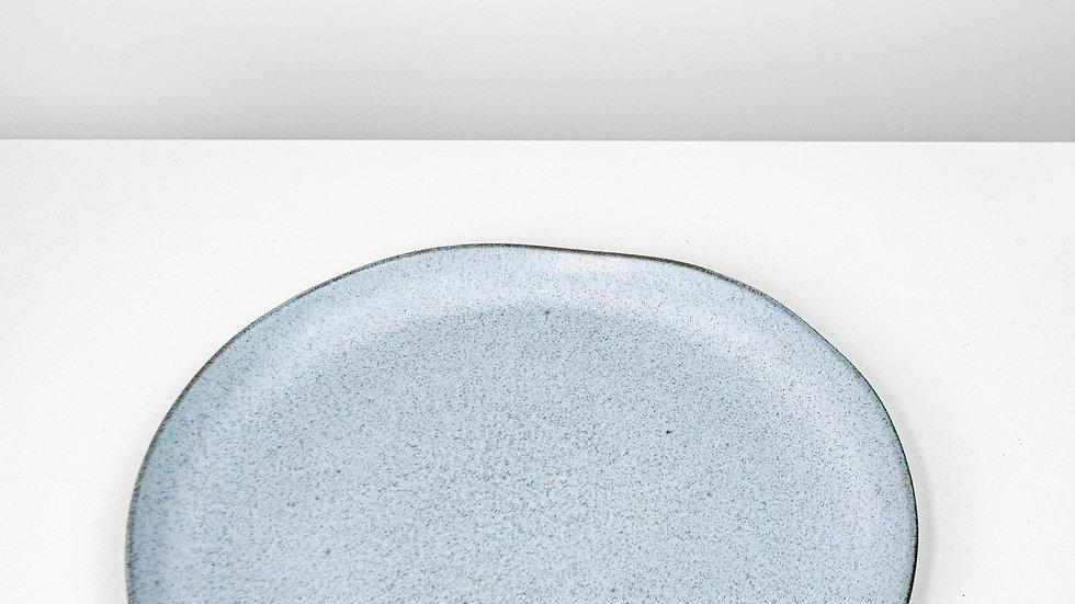 Grey/Blue Oval Plate