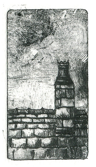 An illustration of a chimney, rooftop and overcast sky
