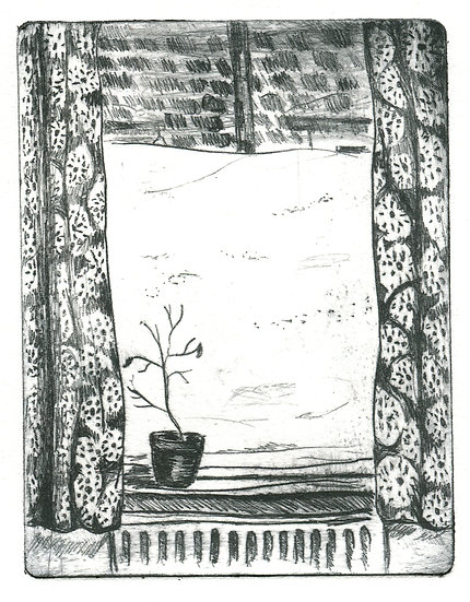 An illustration showing snow banked up against a window