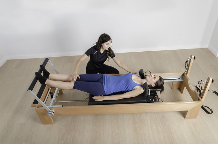 woman doing exercise of pilates with ins