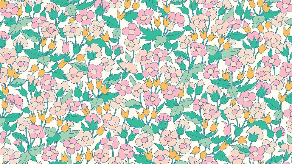 Liberty Carnaby Bohemian Brights Fabric - Piccadilly Poppy, Pastel