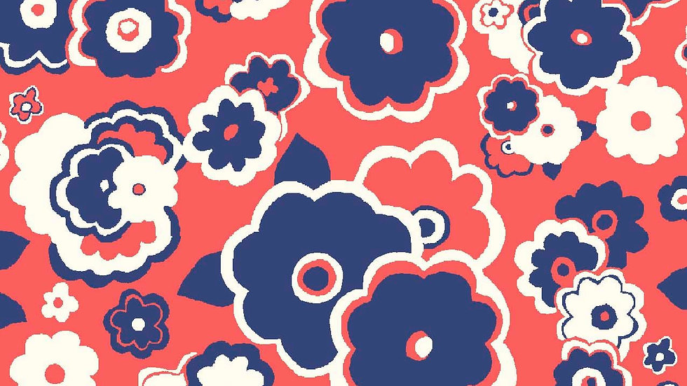 Liberty Carnaby Retro Indigo Fabric - Cosmos Cloud, Crimson