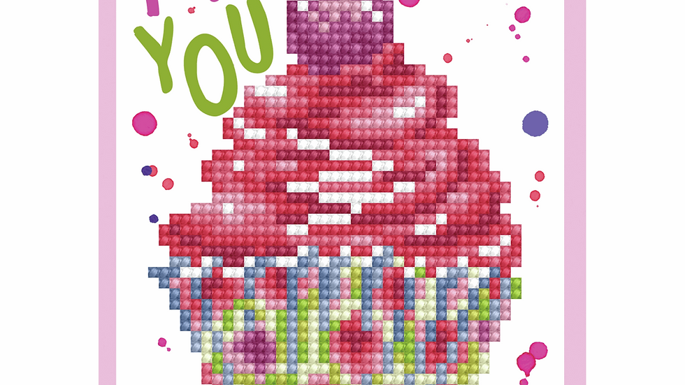 Diamond Dotz Greeting Card Kit Cup Cake Thank You