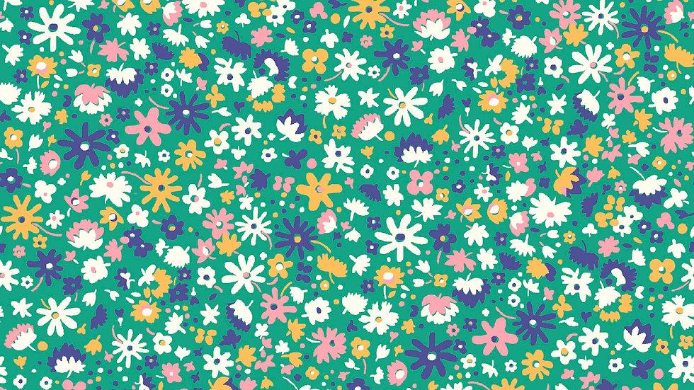 Liberty Carnaby Bohemian Brights Fabric - Bloomsbury Blossom, Green