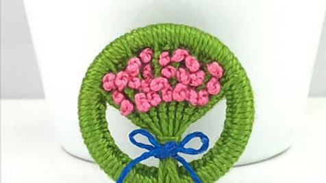 Pink Flower Posy Dorset Button brooch - by Gini's Boutique