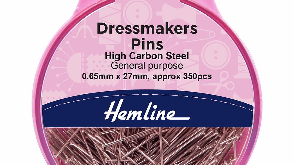 Hemline Pins: Dressmaker's: 26mm: Nickel: 310 Pieces