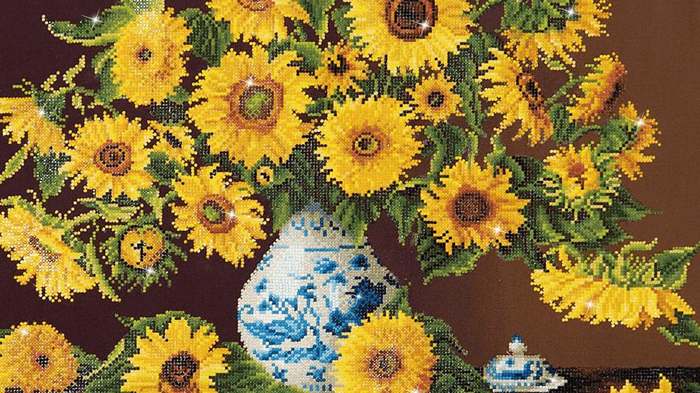 Diamond Dotz Sunflowers in a China Vase