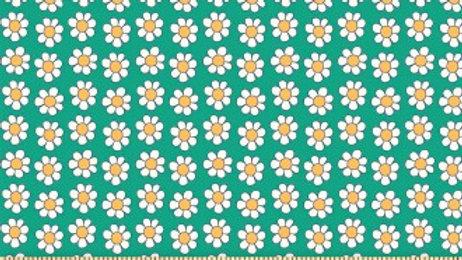 Liberty Carnaby Bohemian Brights Fabric - Daisy Dots, Aqua