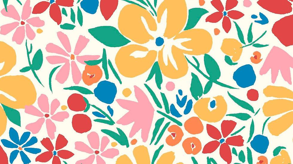 Liberty Carnaby Bohemian Brights Fabric - Bohemian Blossom, White