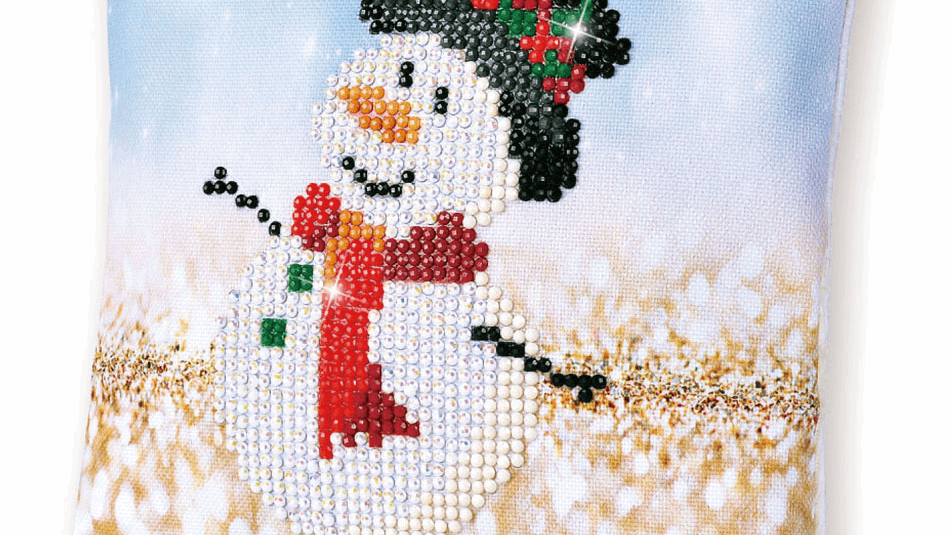 Diamond Dotz Cushion Snowman Top Hat