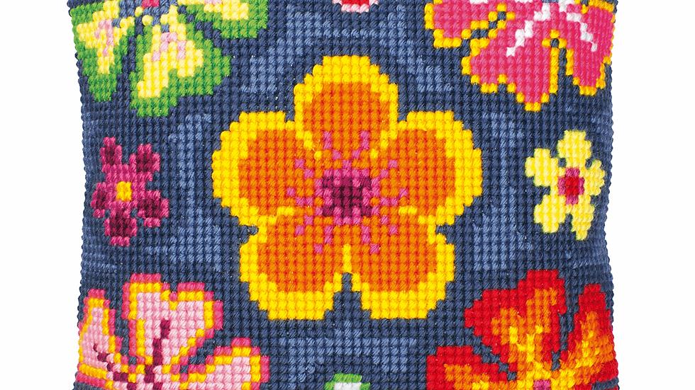 Vervaco: Cross Stitch Kit: Cushion: Bright Flower