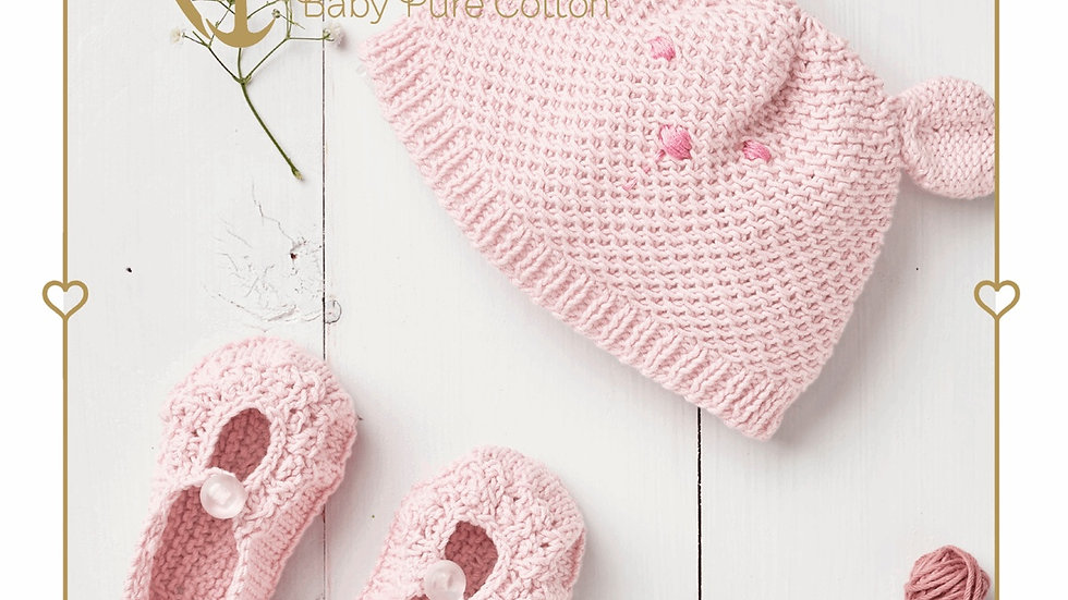 Anchor Baby Pure Cotton Hat and Booties Knitting Kit