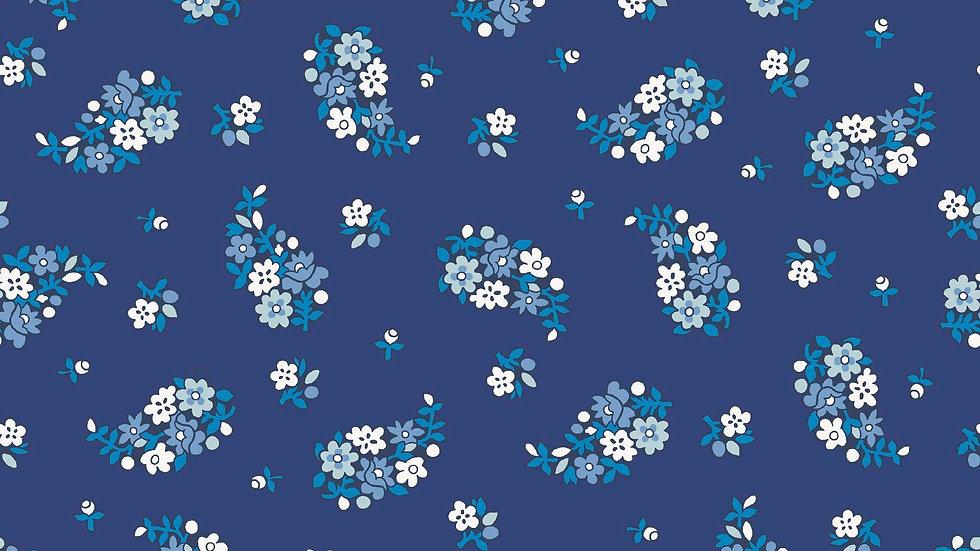 Liberty Carnaby Retro Indigo Fabric - Portobello Paisley, Indigo