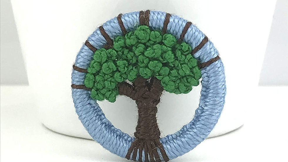 Green Tree Dorset Button brooch - by Gini's Boutique