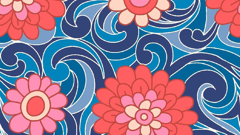 Liberty Carnaby Retro Indigo Fabric - Carnation Carnival, Indigo