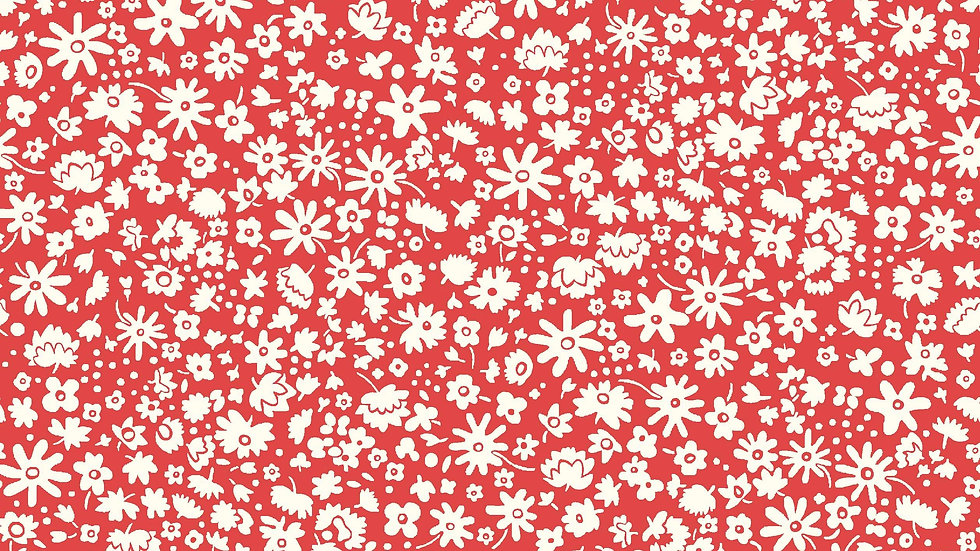 Liberty Carnaby Retro Indigo Fabric - Bloomsbury Silhouette, Crimson