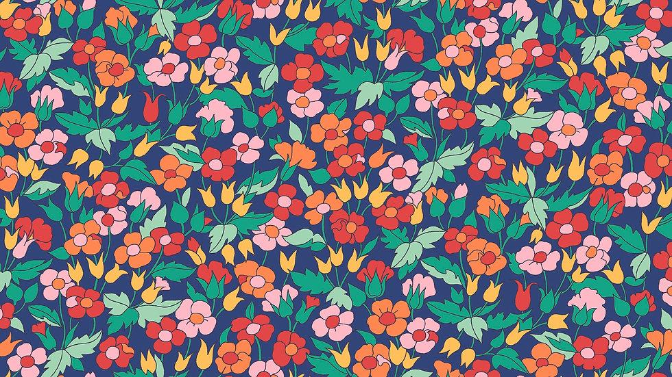 Liberty Carnaby Bohemian Brights Fabric - Piccadilly Poppy, Indigo