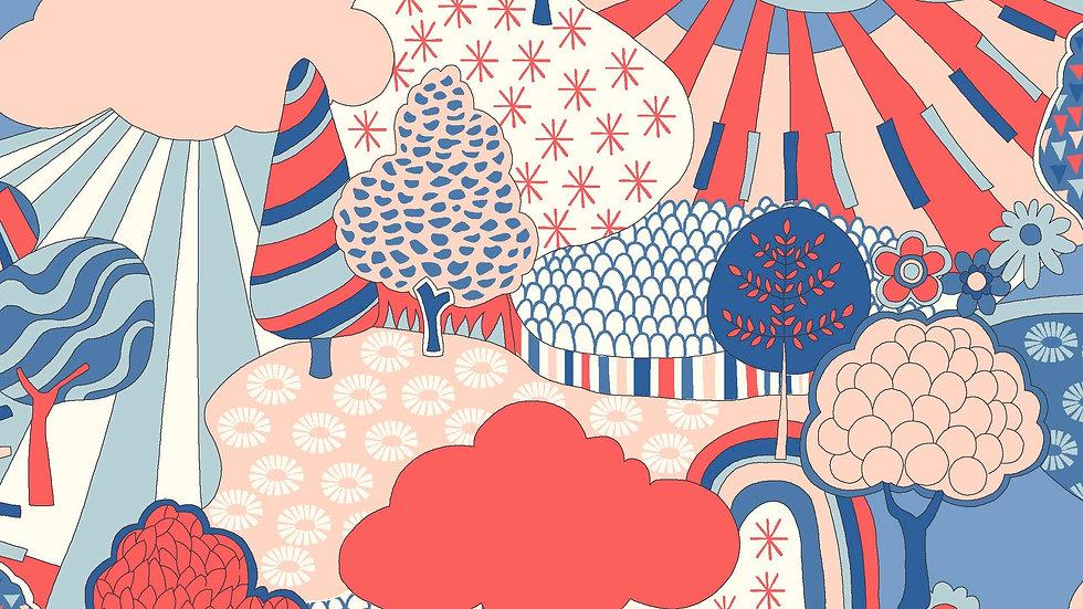 Liberty Carnaby Retro Indigo Fabric - Sunny Afternoon, Pastel
