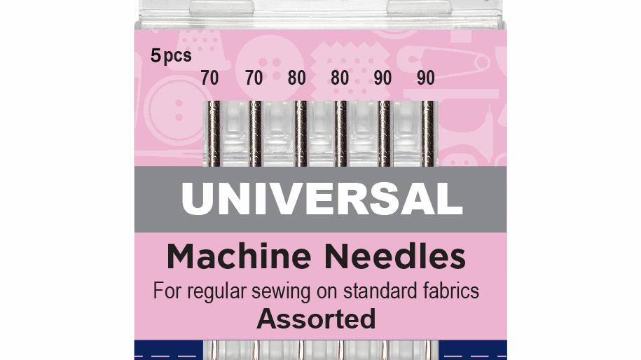 Hemline Sewing Machine Needles: Universal: Mixed: 5 Pieces