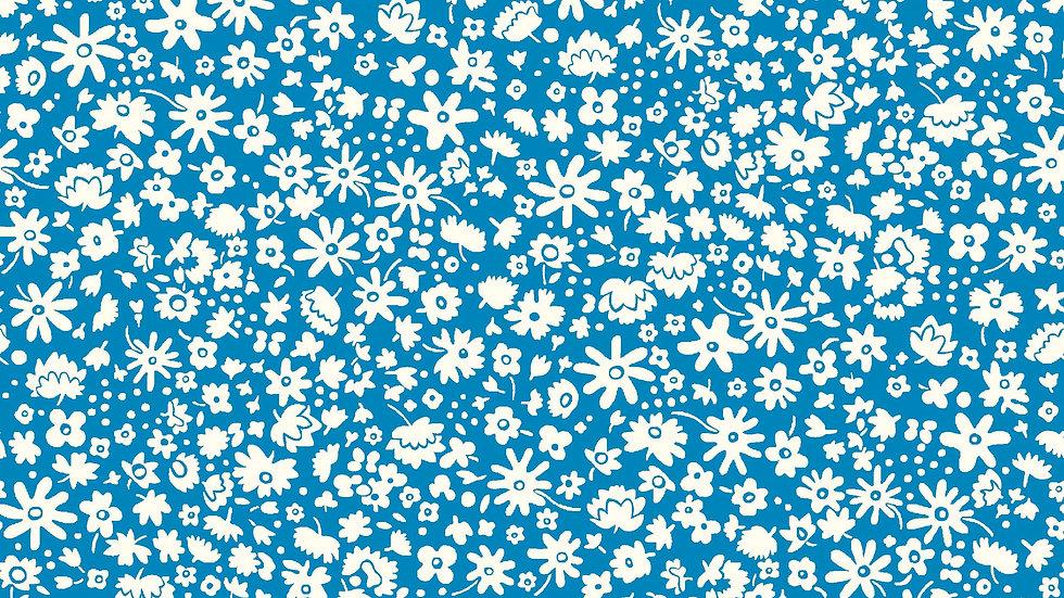 Liberty Carnaby Retro Indigo Fabric - Bloomsbury Silhouette, Blue
