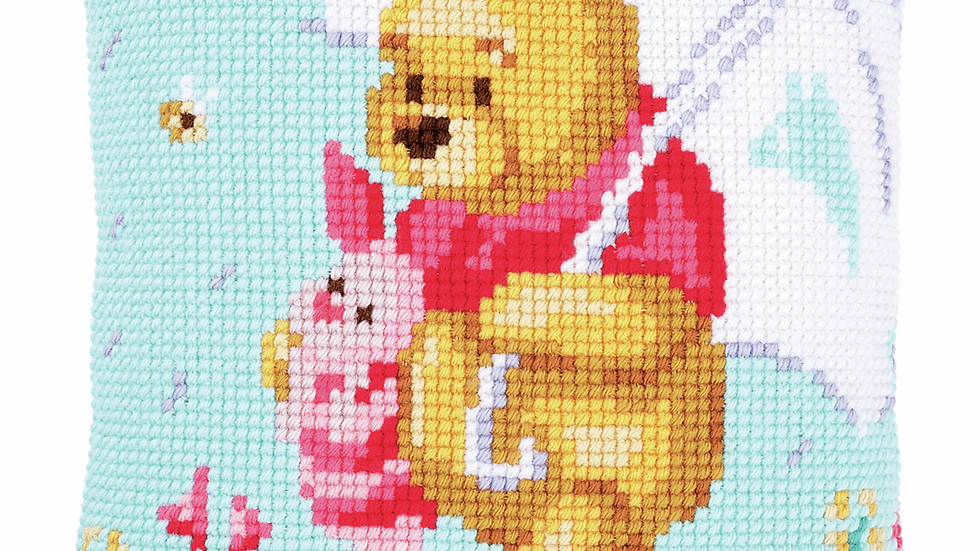 Vervaco: Cross Stitch Kit: Cushion: Disney: Winnie in the Rain