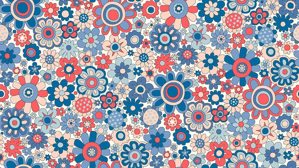 Liberty Carnaby Retro Indigo Fabric - Paradise Petals,Sky