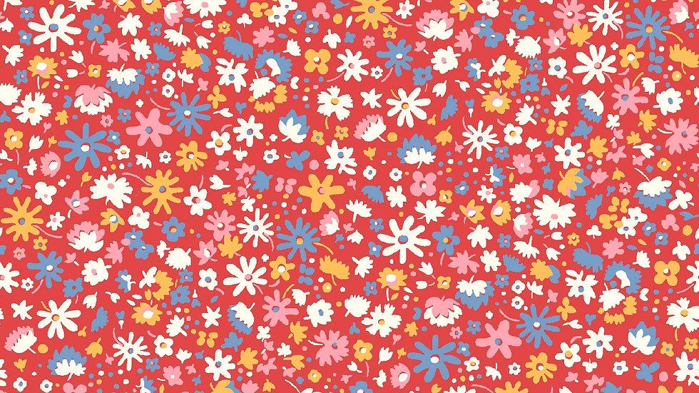 Liberty Carnaby Bohemian Brights Fabric - Bloomsbury Blossom, Crimson