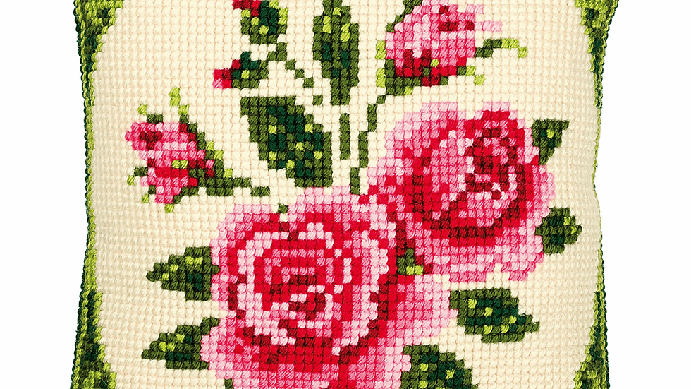 Vervaco: Cross Stitch Kit: Cushion: Pink Roses