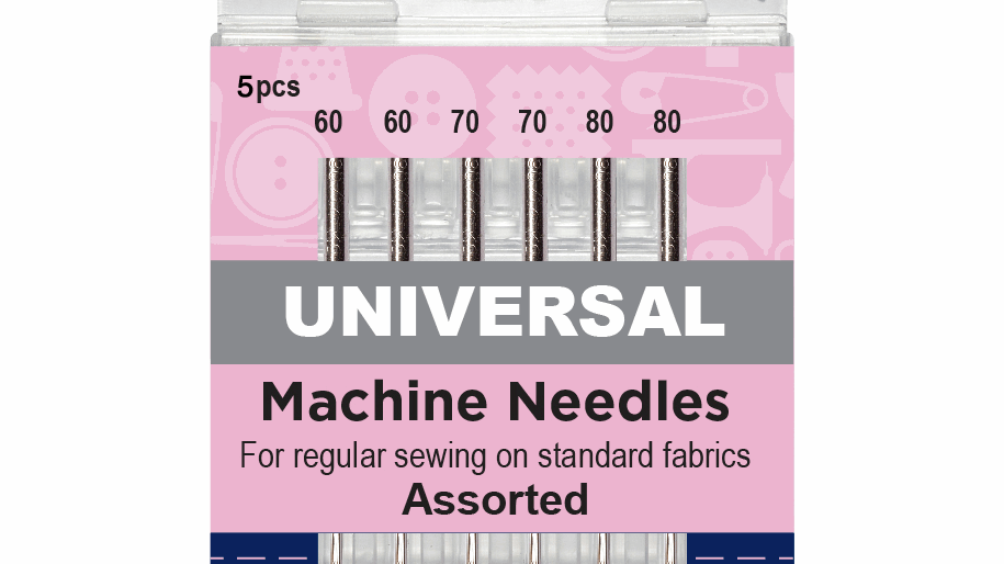Hemline Sewing Machine Needles: Universal: Mixed Fine: Pack of 5