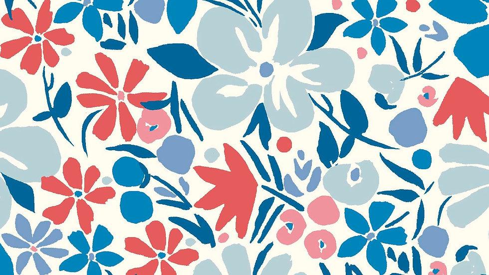 Liberty Carnaby Retro Indigo Fabric - Bohemian Bloom, Sky