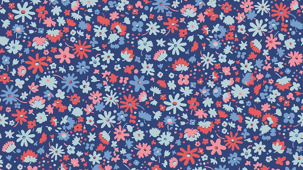 Liberty Carnaby Retro Indigo Fabric - Bloomsbury Blossom, Indigo