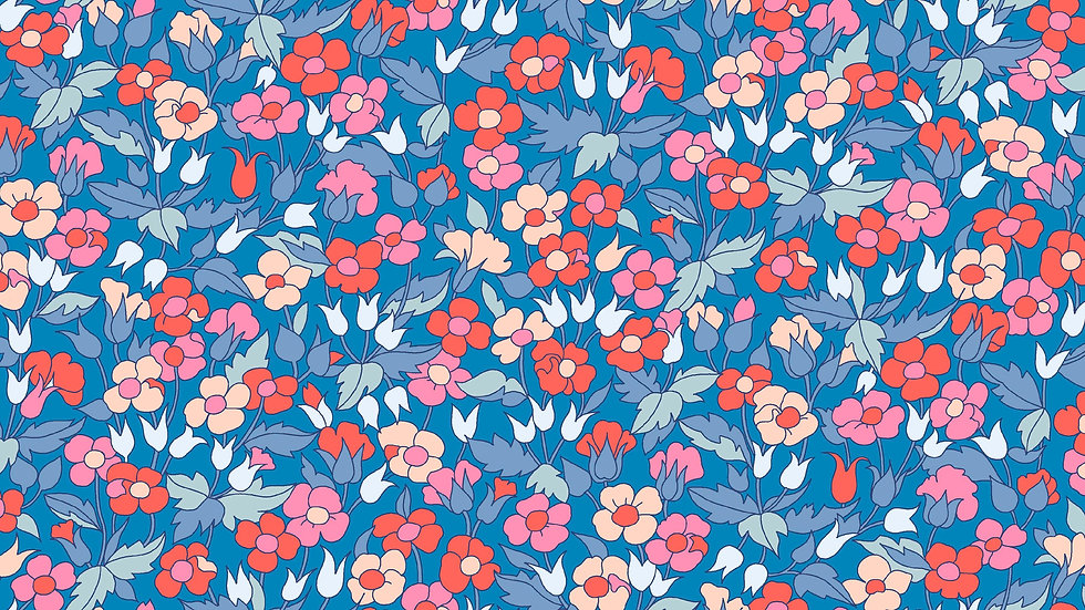 Liberty Carnaby Retro Indigo Fabric - Piccadilly Poppy, Blue