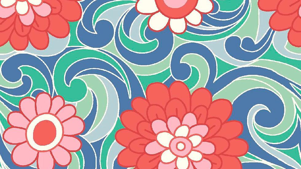 Liberty Carnaby Bohemian Brights Fabric - Carnation Carnival, Sky
