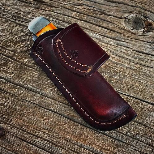 Horizontal Leather Sheath (Trapper Pocket Knife)
