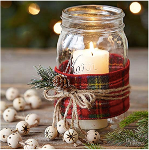 decorated balls-mason jar with Christmas plaid and a bow tied string