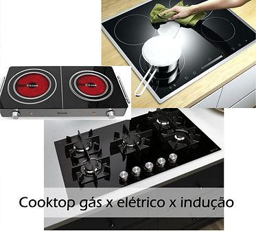 Diferença entre cooktop a gás, elétrico