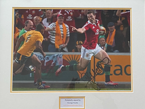 George North Signed and Framed Print