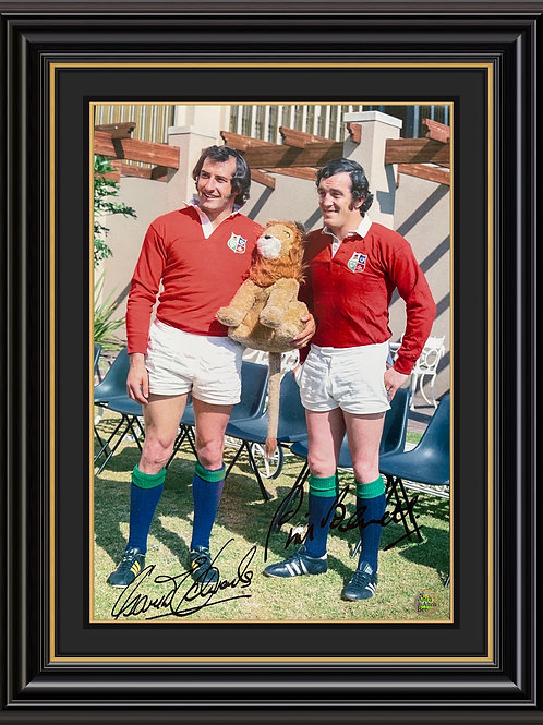 Sir Gareth Edwards CBE and Phil Bennett OBE Dual Signed Print
