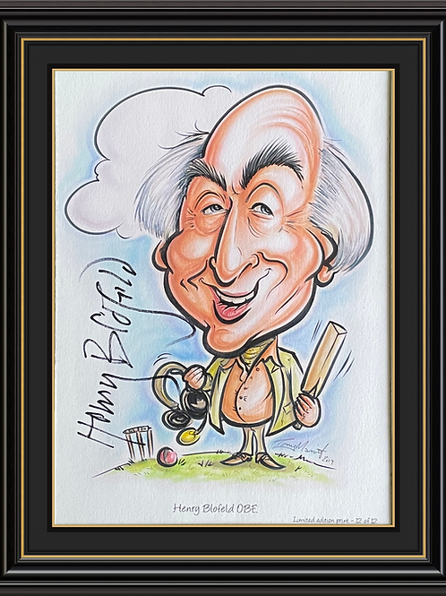 Henry Blofeld OBE  A5 Caricature Signed Print