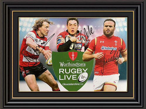 A4 Advertising Poster signed by Gareth Delve, Billy Twelvetrees & Jamie Roberts