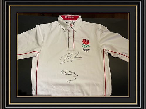 Retro England Shirt Signed by Martin Johnson and Clive Woodward
