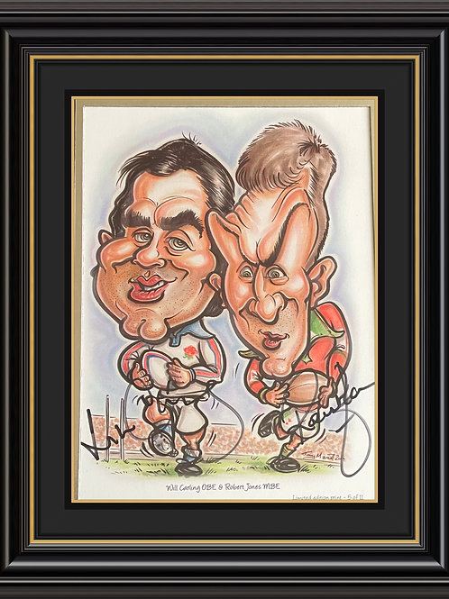 Will Carling and Rob Jones A5 Caricature Signed Print