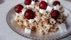 Oatmeal with feta and cherries