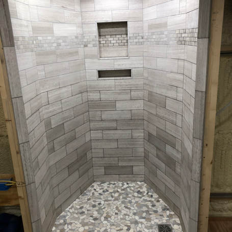 MarbleTile Shower with heated floor.