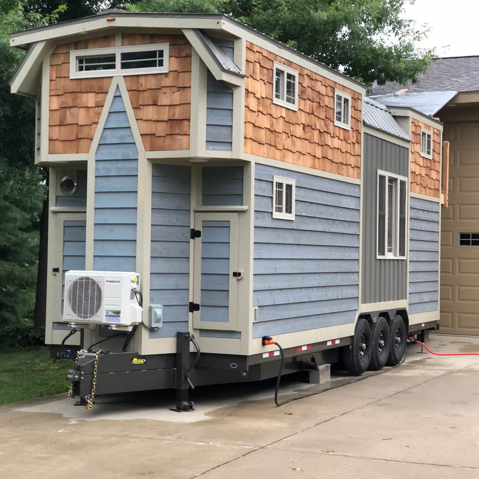 A Mini Split Heat/AC is the most efficient way to heat and cool a tiny house.