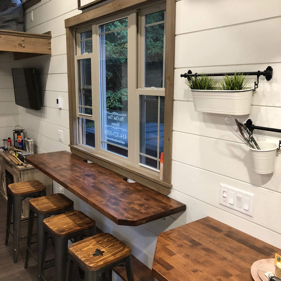 Butcher Block Countertops, Custom Wood Shiplap Walls.