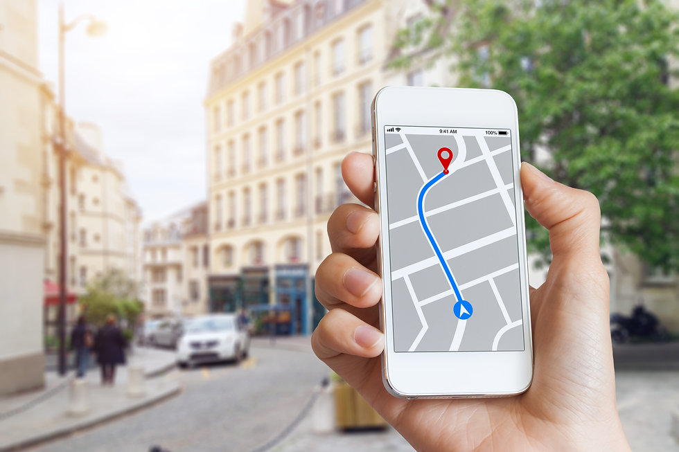 Tourist using GPS map navigation app on