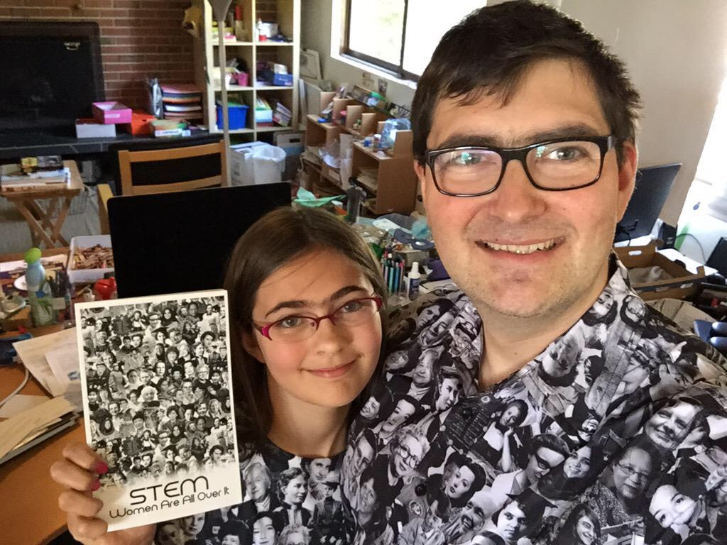 Dad & daughter in matching shirts
