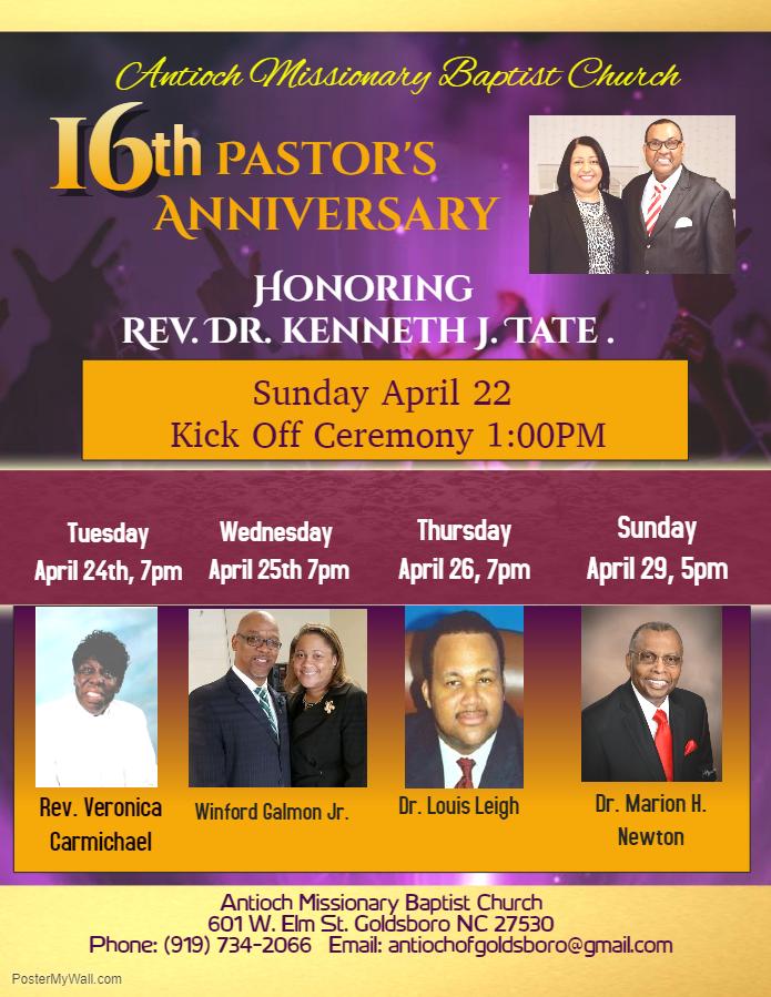 Pastor Tates's Anniversary Info.